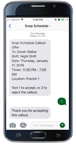 Employees can respond to callouts via text messages